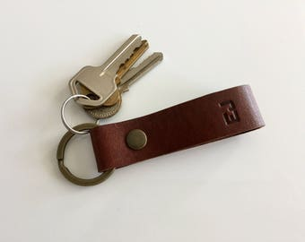 Personalised initial Keyring 05 / Leather Key Fob / Personalized Leather Keyring / Anniversary gift