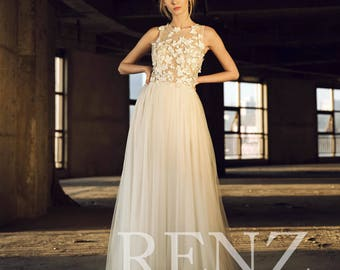 791b234e655 Wedding Dress Illusion Boat Neck Maxi Dress Off White Tulle Dress Long Bride  Dress Lace Bridal Dress Sleeveless Lace Evening Dress(LW159)