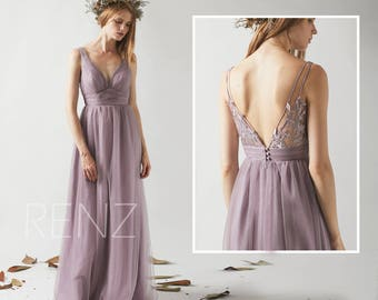 08439fdc139 Bridesmaid Dress Dark Mauve Tulle Prom dress Long Wedding Dress V Neck  Illusion Lace V back A-line Dress(HS503)