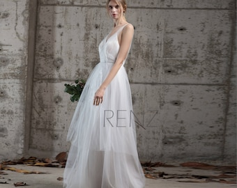 535e0295bba Wedding Dress Ruched V Neck Sequin Maxi Dress Off White Tulle Dress  Backless Party Dress Train Dress Sleeveless A-Line Evening Dress(LW173)