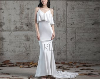 658ddbbfcbb Wedding Dress Off White Silk Satin Dress Spaghetti Strap Bodycon Bride Dress  Ruffled V Neck Train Mermaid Dress V Back Party Dress (GW247)