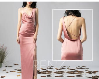 0da4e9b88f3 Party Dress Dusty Rose Satin Chiffon Evening dress Slit Asymmetrical Draped  V Neck Maxi Dress One Shoulder Backless Bridesmaid Dress (H573)