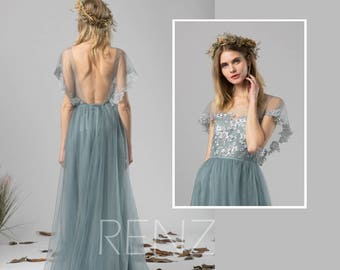 a750689852 Bridesmaid Dress Dusty Blue Tulle Dress Wedding Dress Lace Ruffle Sleeve  Party Dress Round Neck Maxi Dress Open Back Evening Dress(LS408)