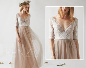 65ad852ab84 Bridesmaid Dress Pale Khaki Tulle Boho Wedding Dress Off White Lace 3 4  Sleeves Maxi Dress Beaded Illusion Deep V Neck Prom Dress(HS529A)