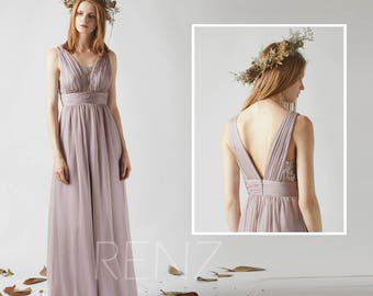 9ca039d906c Bridesmaid Dress Rose Gray Chiffon Dress Lace Illusion V Neck Maxi Dress  Sleeveless Long Prom Dress A Line Party Dress Wedding Dress(Q003)