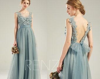 81d2255f079da Bridesmaid Dress Dusty Blue Tulle Wedding Dress Lace Open Back Prom Dress  Long Sash Illusion Boat Neck A-Line Sleeveless Party Dress(LS630)