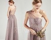 Bridesmaid Dress Mauve Tulle Long Party Dress One Shoulder Beaded Lace Applique Sweetheart A-line Wedding Dress (HS715)