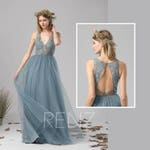 Bridesmaid Dress Dusty Blue Tulle Dress Wedding Dress Illusion V Neck Maxi Dress Open Back Lace Party Dress Sleeveless Evening Dress(LS391)