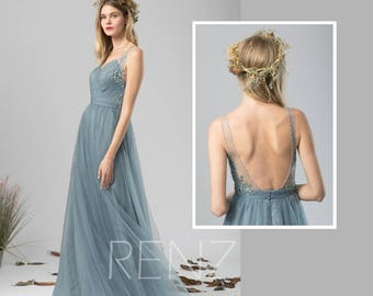 Bridesmaid Dress Dusty Blue Tulle Dress Wedding Dress,V Neck Maxi Dress,Lace  Illusion Open Back Party Dress,Sleeveless Evening Dress(LS419)