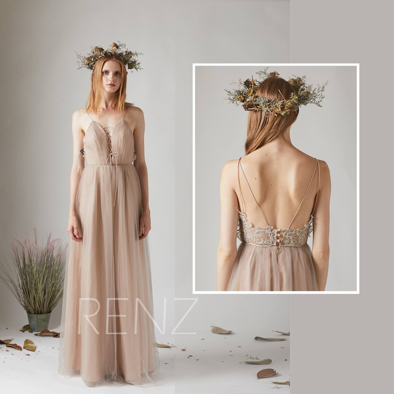 20ee3c38b1a Bridesmaid Dress Pale Khaki Tulle Dress Wedding Dress Lace-up