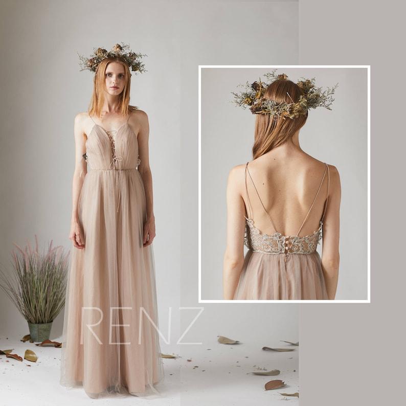 20ee3c38b1a Bridesmaid Dress Pale Khaki Tulle Dress Wedding Dress Lace-up