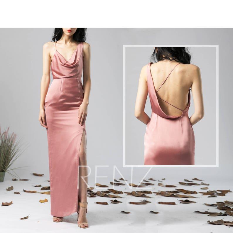 1682a0e876 Party Dress Dusty Rose Satin Chiffon Evening dress Slit
