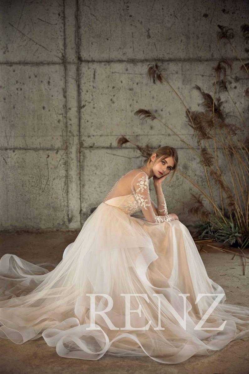 Wedding Dress Long Sleeve Lace Wedding Dresses Boho Off White image 0