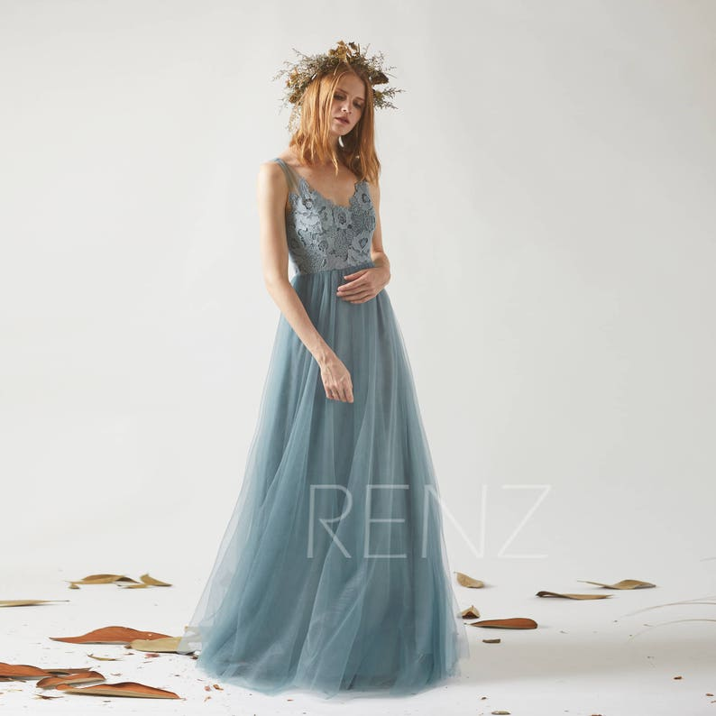 0a8829d7ed2 Bridesmaid Dress Dusty Blue Tulle Dress Wedding Dress Illusion