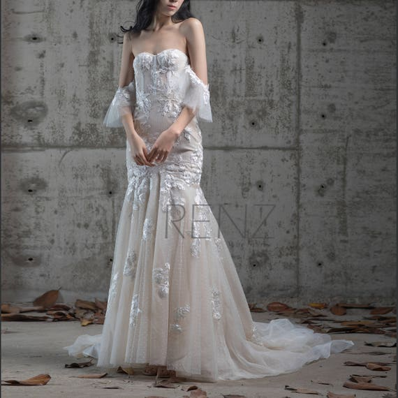 Wedding Dress Off White Sweetheart Fitted Bridal Dress Off Shoulder Ruffle Sleeve Train Maxi Dress Lace Up Back Mermaid Evening Dressgw246