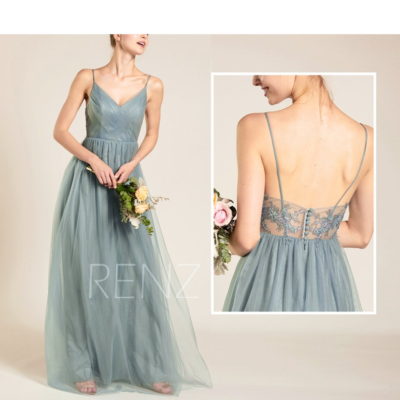 0a58c1cec95 Prom Dress Dusty Blue Long Wedding Dress V Neck Tulle