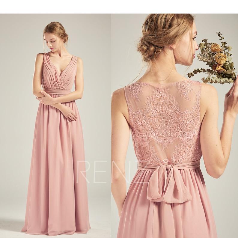 5fd93dcebd7 Prom Dress Dusty Rose Chiffon Dress Illusion Lace Beaded Back