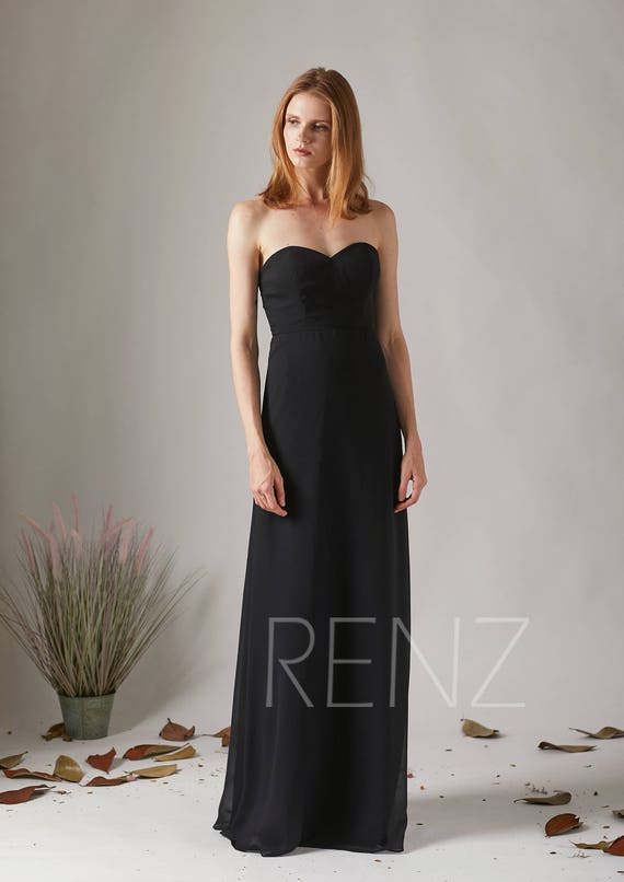Party Dress Strapless Bridesmaid Dress Black Chiffon Prom Etsy