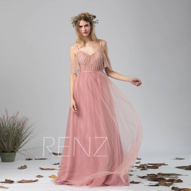 62935170c88 Bridesmaid Dress Dusty Pink Tulle Dress Off The Shoulder Maxi