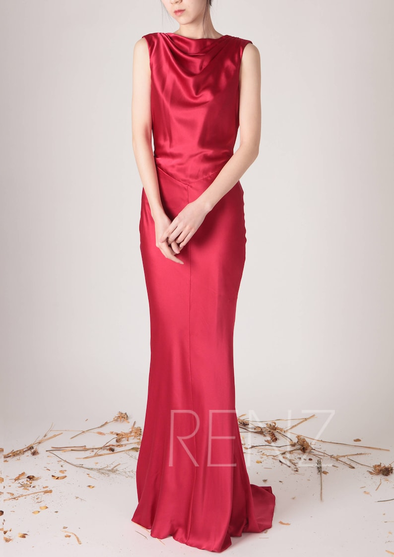 aee493ddf35 Wedding Dress Red Silk Satin Evening dress Ruby High Draped