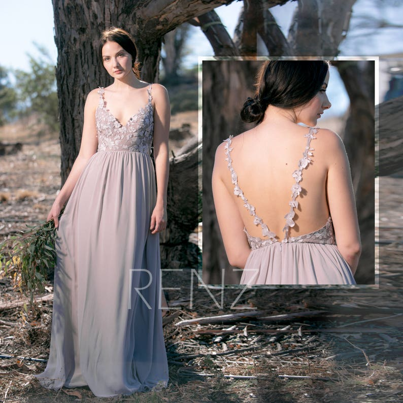 Bridesmaid Dress Taupe Chiffon Dress Wedding Dressdeep V Neck Etsy