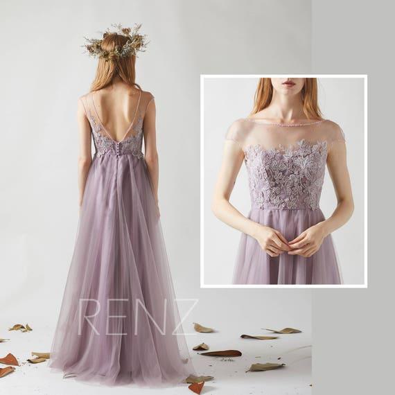 Bridesmaid Dress Dark Mauve Tulle Beaded Boat Neck Prom Etsy