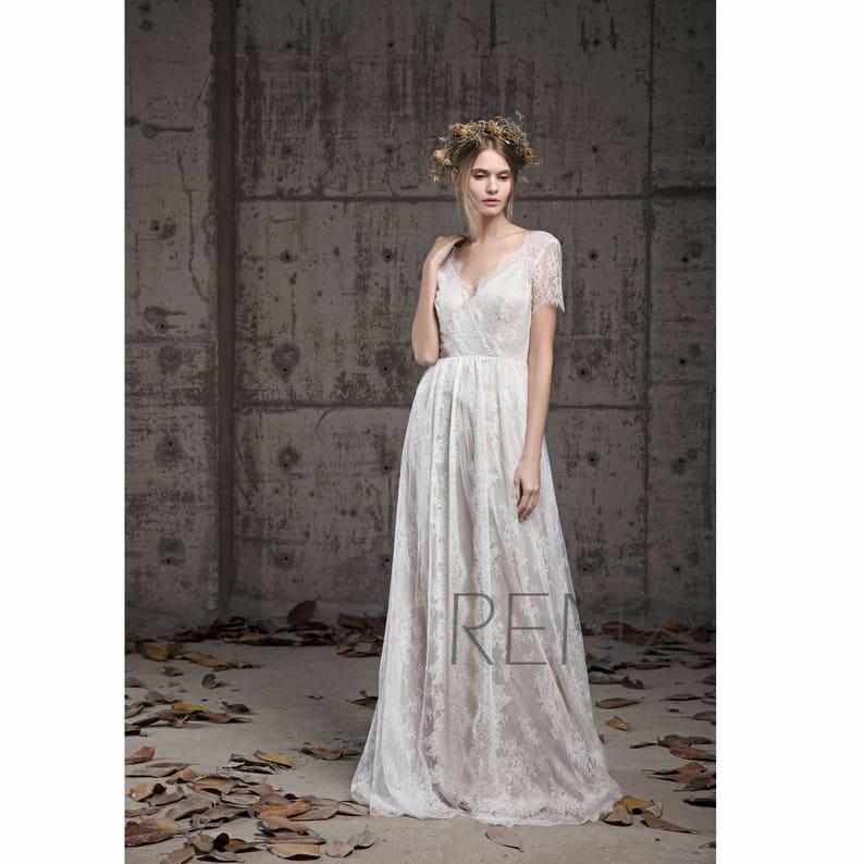 Short V Neck Wedding Dress