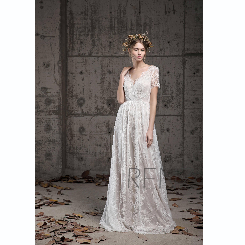 c50b155478158 Wedding Dress Boho Lace Bridal Dress Off White Short Sleeve | Etsy