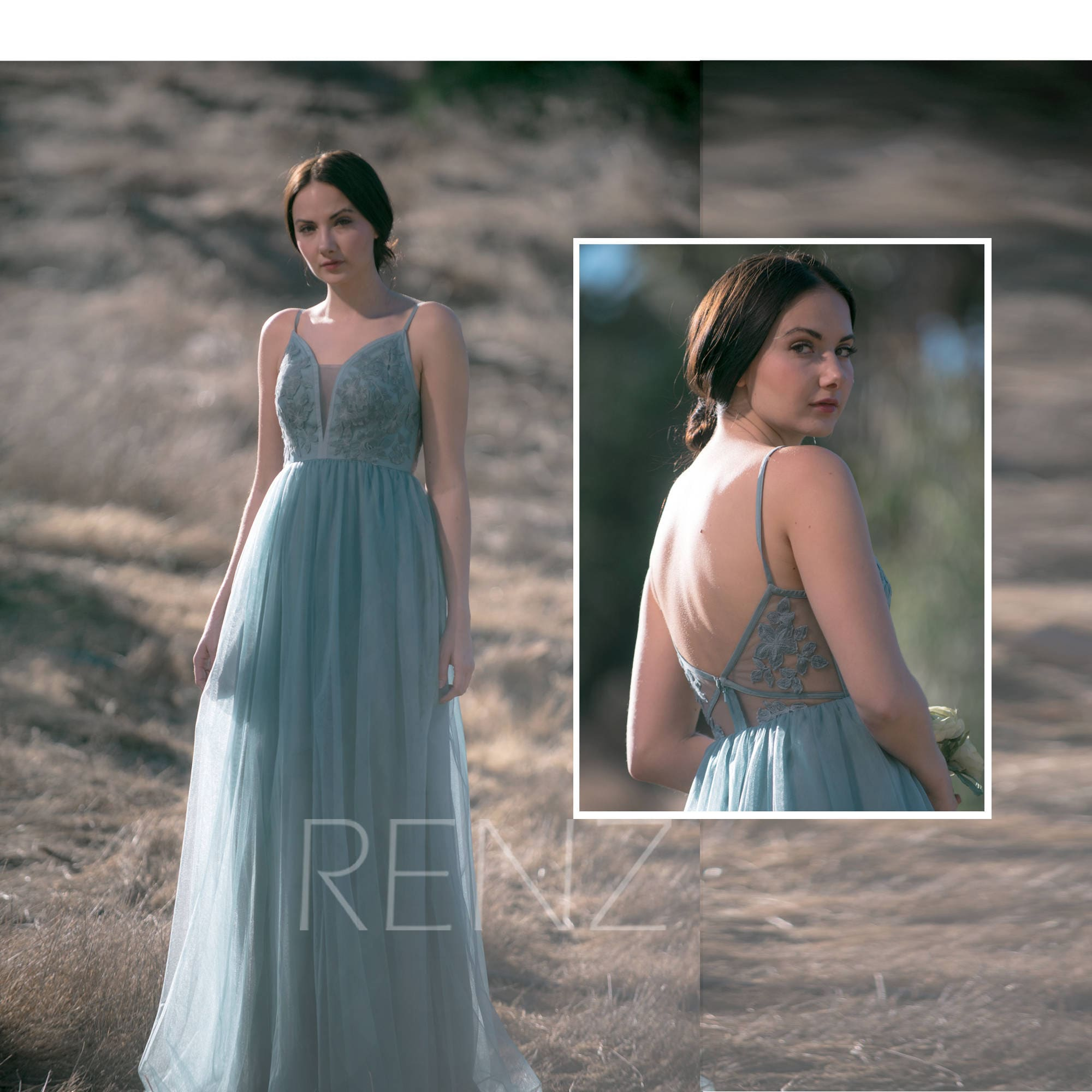 2d8ec3536ae Bridesmaid Dress Dusty Blue Tulle Dress Wedding Dress