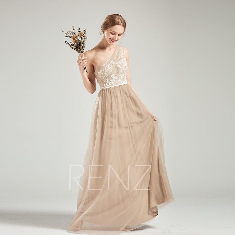 98585e45de1 Prom Dress Pale Khaki Tulle Bridesmaid Dress One Shoulder Lace