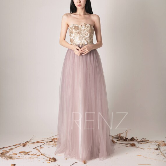 Bridesmaid Dress Dark Mauve Tulle Maxi Dress Strapless Wedding Etsy