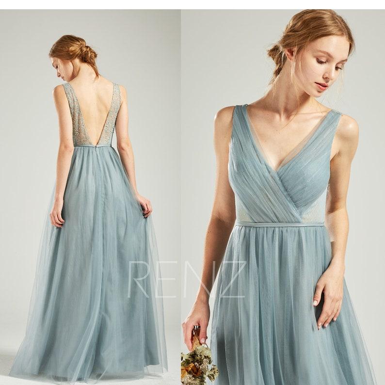 a61ea100219 Party Dress Dusty Blue Bridesmaid Dress Wedding Dress V Neck