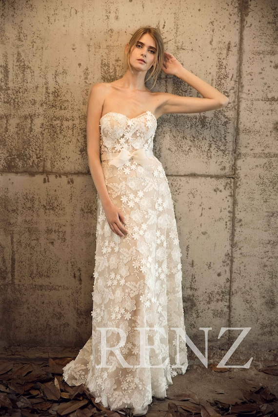 Wedding Dress Off White Lace Train Maxi Dress Sweetheart Strapless Bridesmaid Dress A Line Bow Tie Bridal Dress Nude Evening Dress(JW132)
