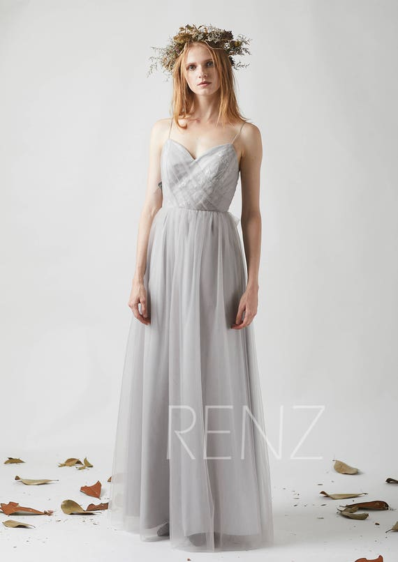 Bridesmaid Dress Light Gray Tulle Wedding Dress Sash Spaghetti Strap Maxi Dress V Neck Lace Party Dress A Line Backless Prom Dress(LS313)