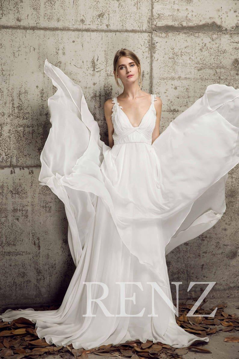 59a631ede97 Wedding Dress Off White Chiffon Dress Deep V Neck Bridal Dress
