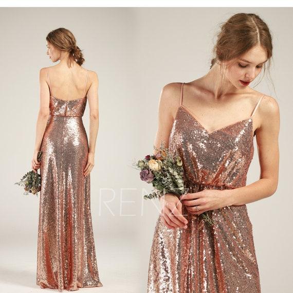 Prom Dress Rose Gold Sequin Bridesmaid Dress V Neck Party Dress Long Spaghetti Strap A line Wedding Dress (HQ582)