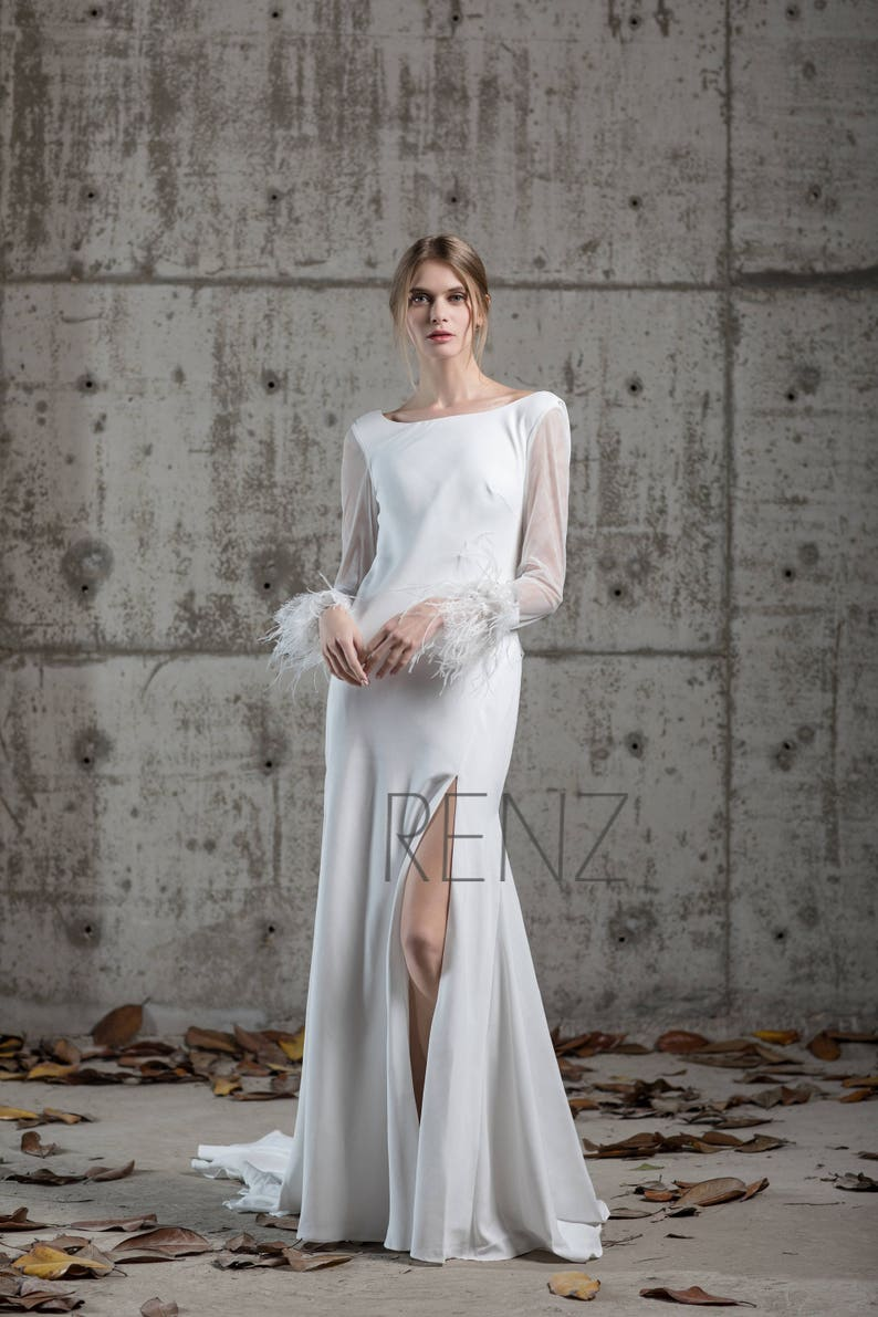 Long Sleeves Wedding Dress Off White Long Slit Dress Train Etsy