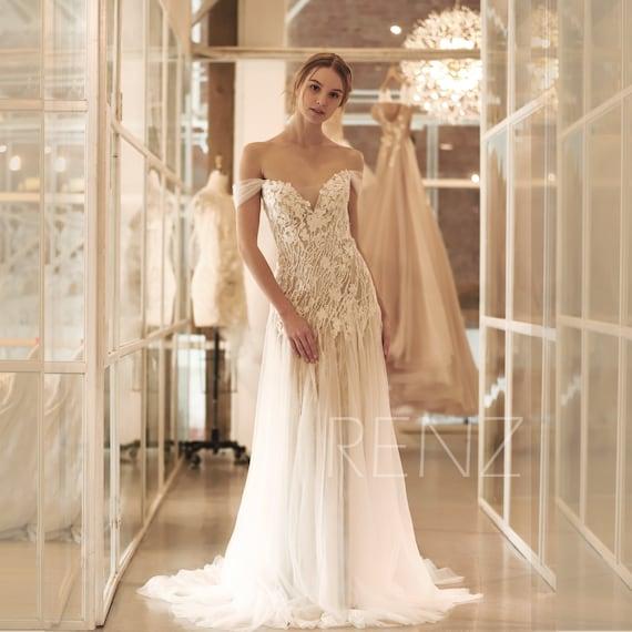 off the shoulder wedding dress