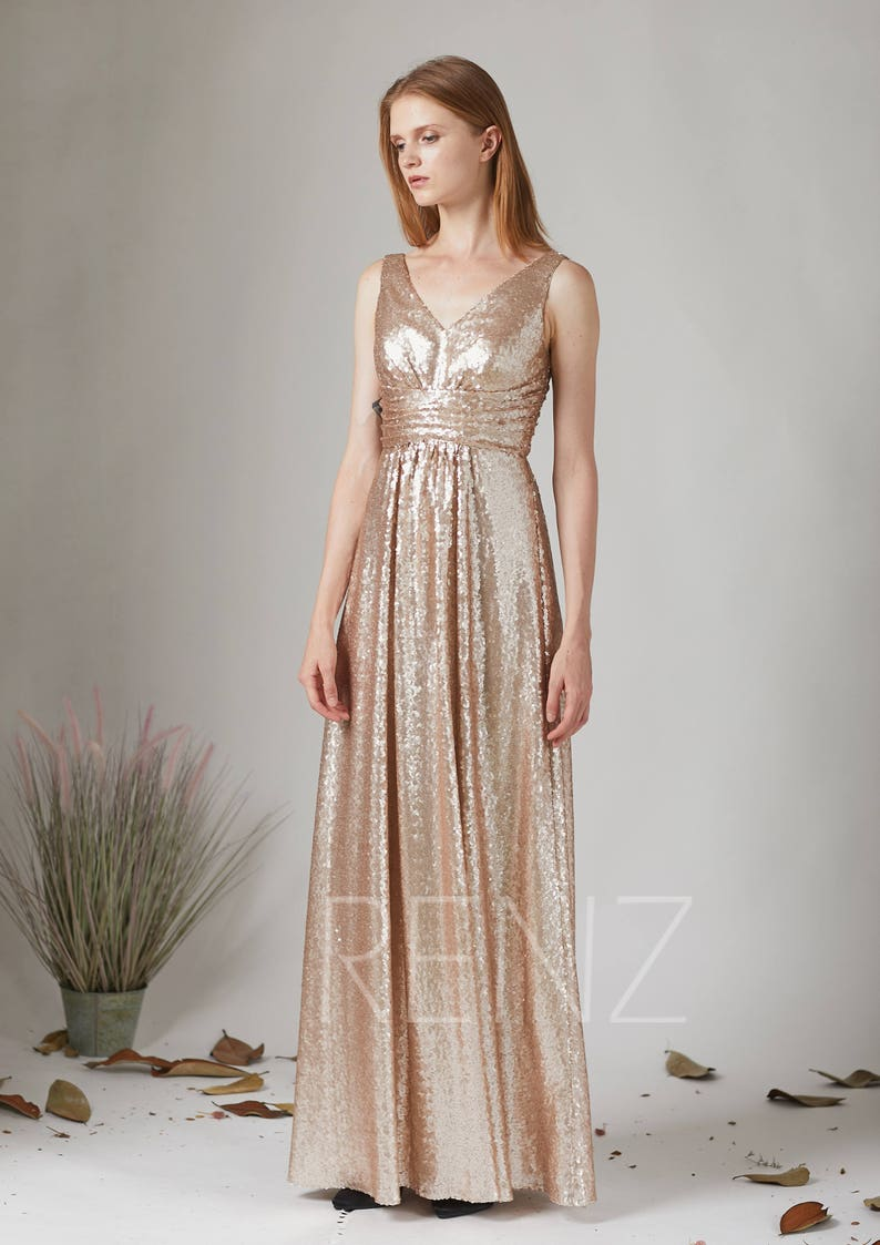 Party Dress Tan Sequin Prom Dress Ruched V Neck Gold Etsy