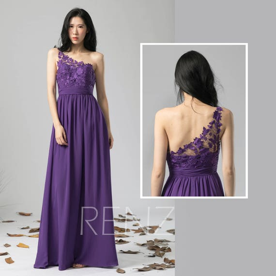 Bridesmaid Dress Bright Purple Chiffon Wedding Dress One Shoulder Lace Maxi Dress Illusion Sweetheart A Line Dress Long Evening Dressl393
