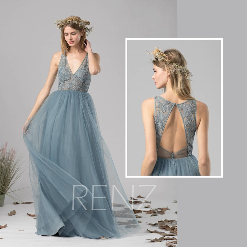 12e2c49614a9a Bridesmaid Dress Dusty Blue Tulle Dress Wedding Dress Illusion V Neck Maxi  Dress Open Back Lace Party Dress Sleeveless Evening Dress(LS391)