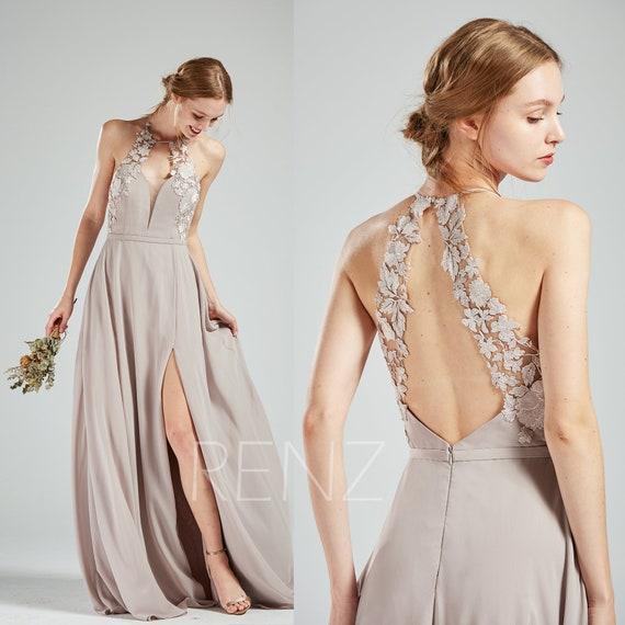 Bridesmaid Dress Taupe Chiffon Wedding Dress Side Split Lace Etsy