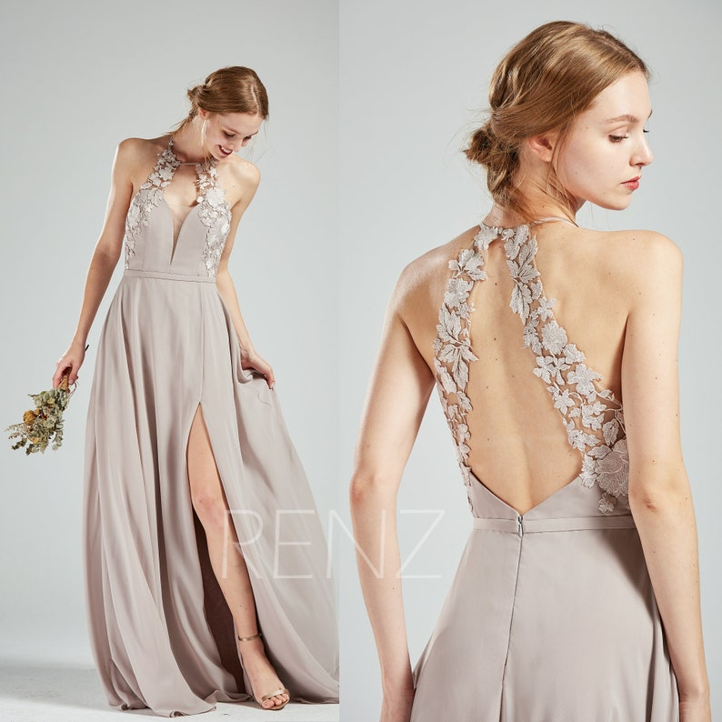 02e3027d152 Wedding Dress Halter Lace Taupe Chiffon Long Bridesmaid Dress