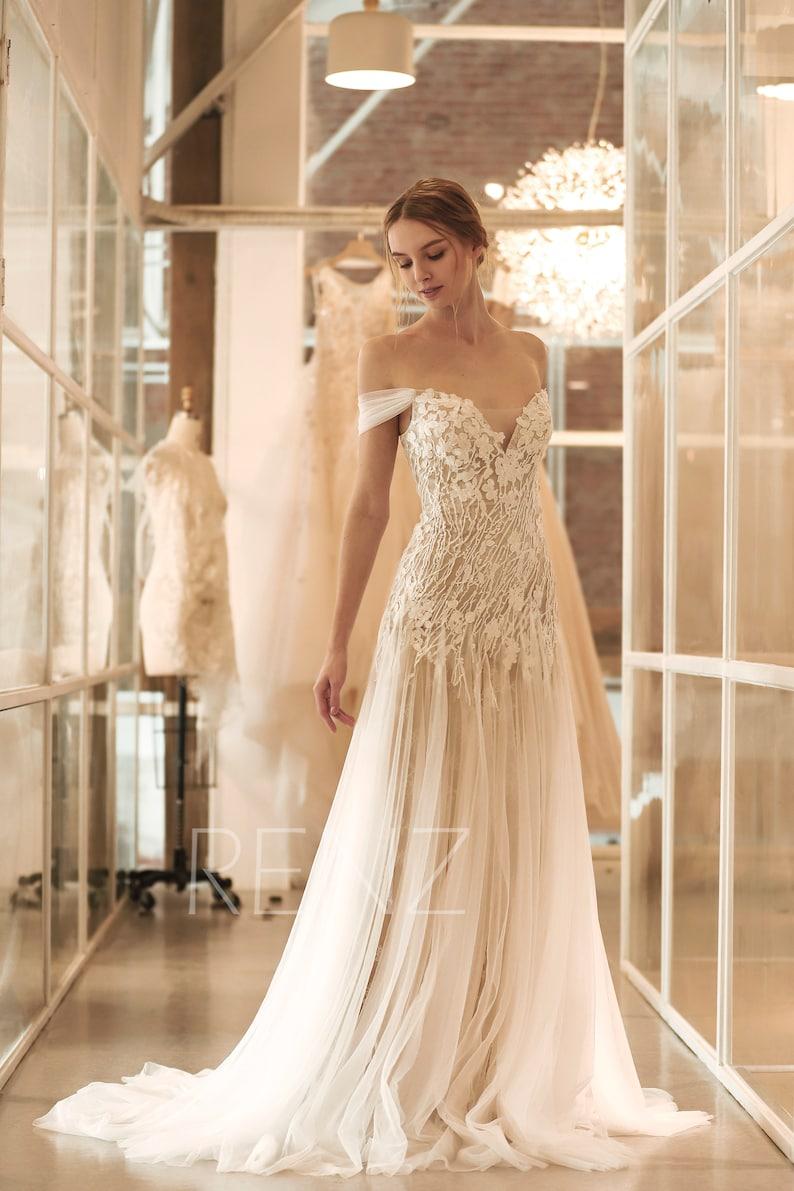 Wedding Dress Boho Off White Off the Shoulder Bridal Dress image 1