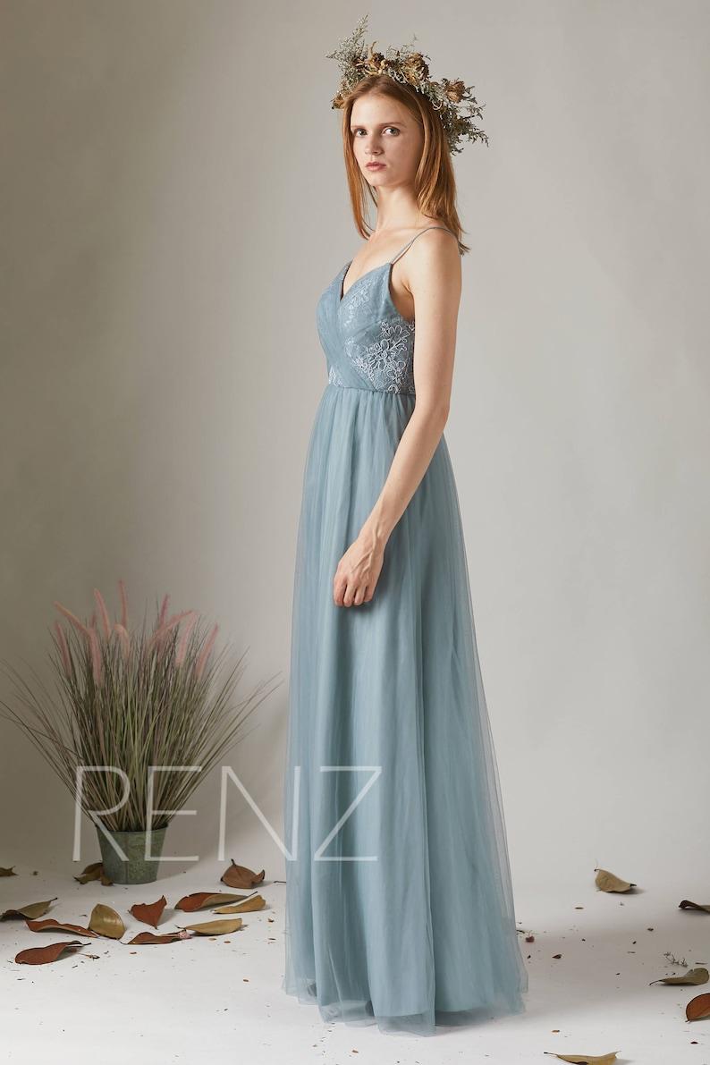 aa08848ce5353d Bridesmaid Dress Dusty Blue Tulle DressWedding