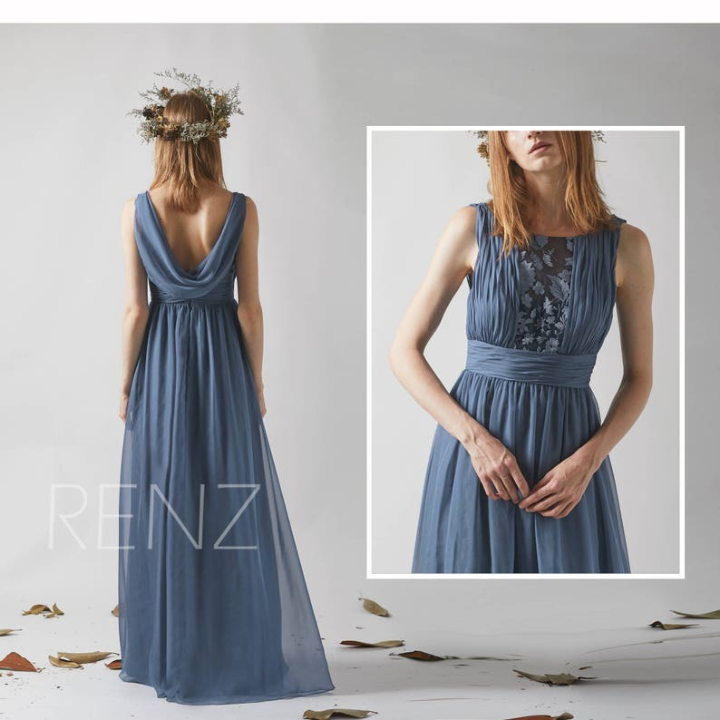 7a897d19c2867 Bridesmaid Dress Dark Steel Blue Chiffon Prom Dress Illusion | Etsy