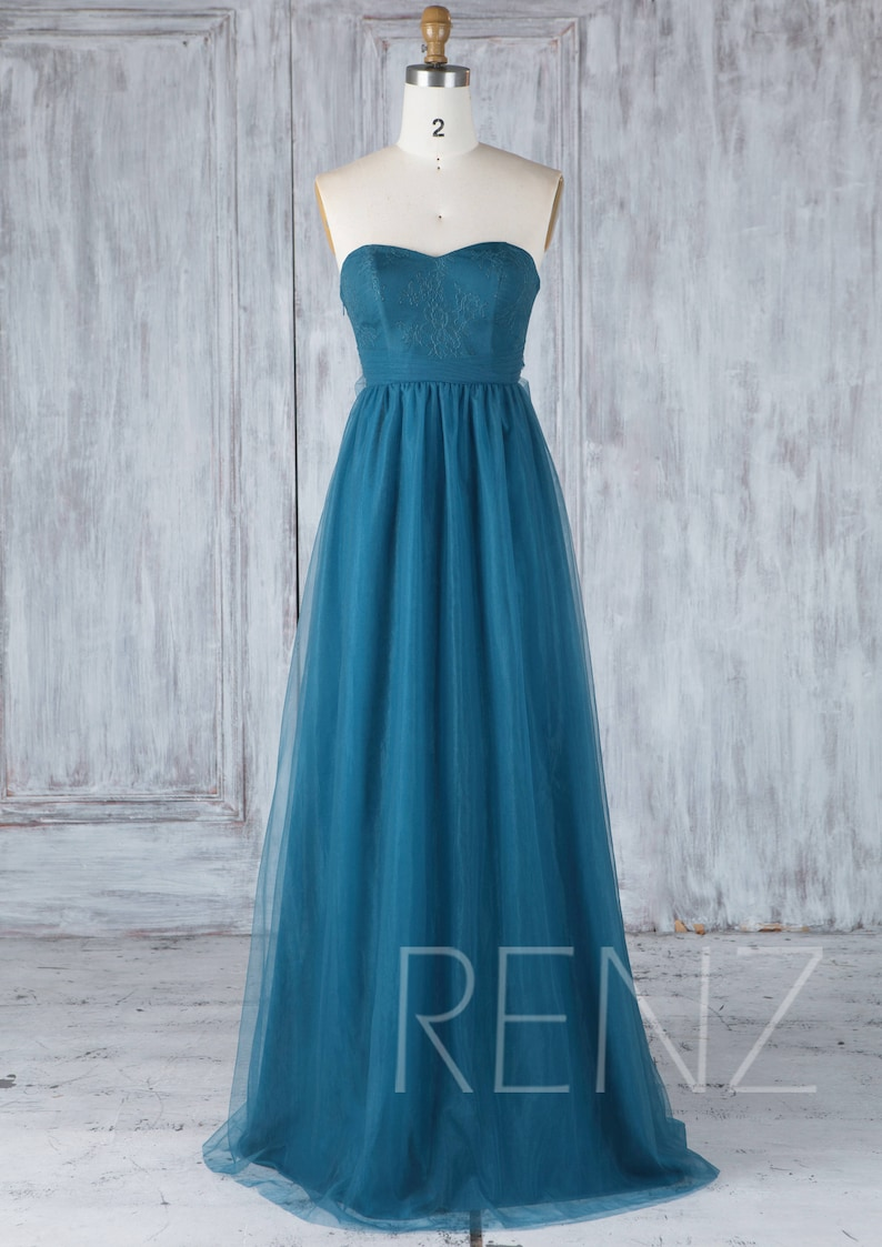 LS350 Bridesmaid Dress Ink Blue Tulle Wedding Dress with Sash Lace Sweetheart Strapless Puffy Prom Dress Low Back Full Length