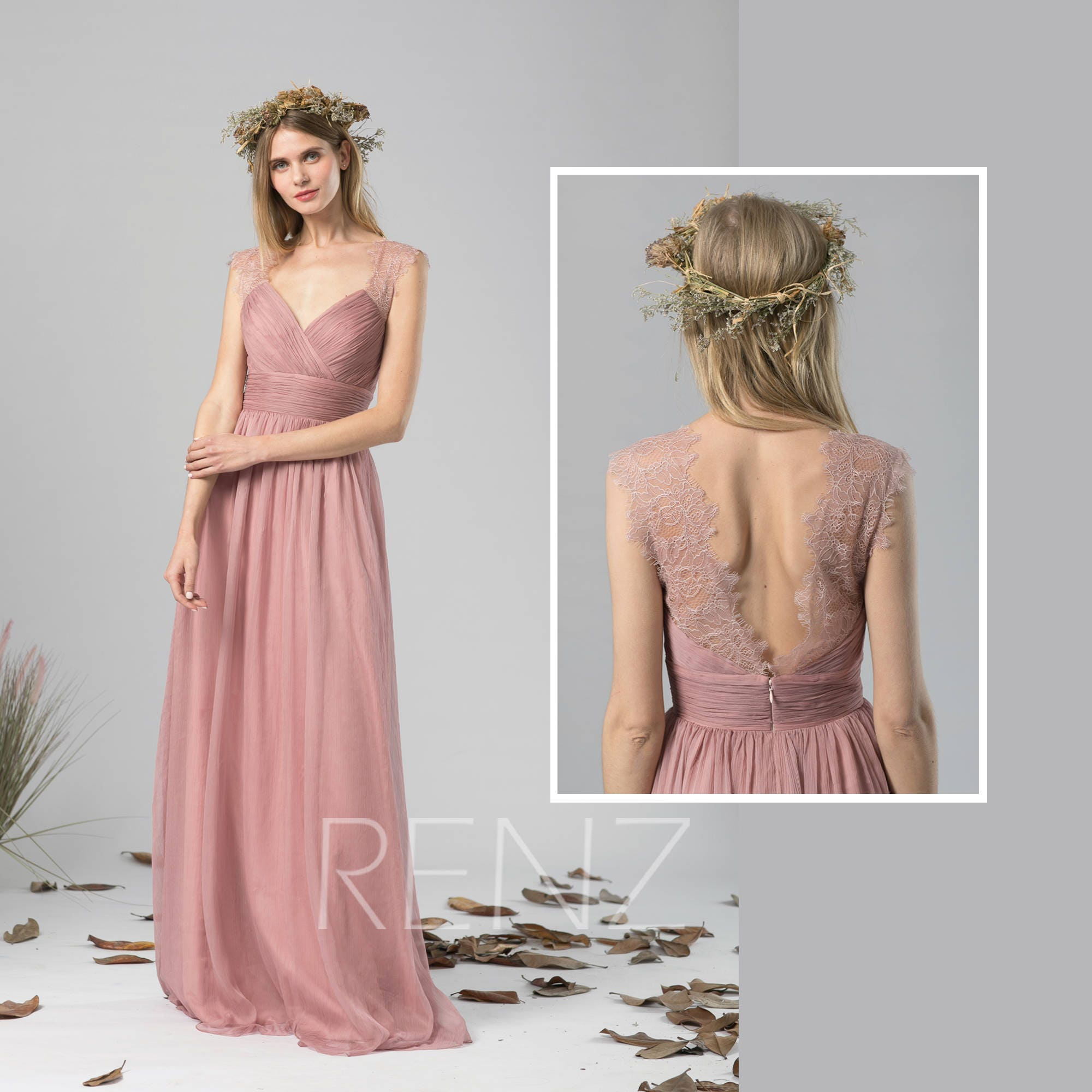 Bridesmaid Dress Dusty Rose Chiffon Dress Wedding DressRuched