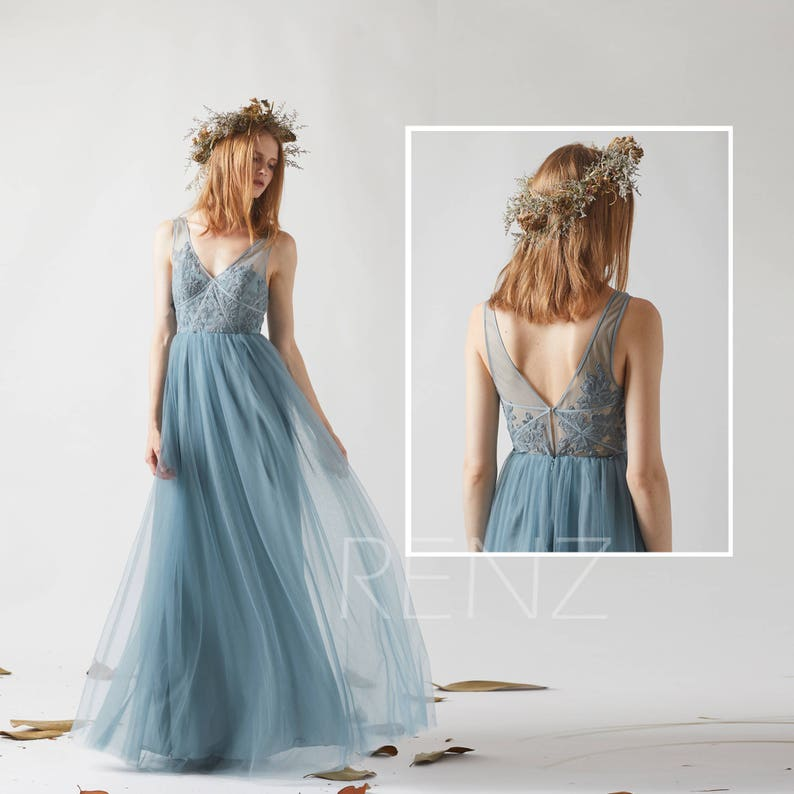 Prom Dress Long Dusty Blue Lace Wedding Dress V Neck Tulle image 0
