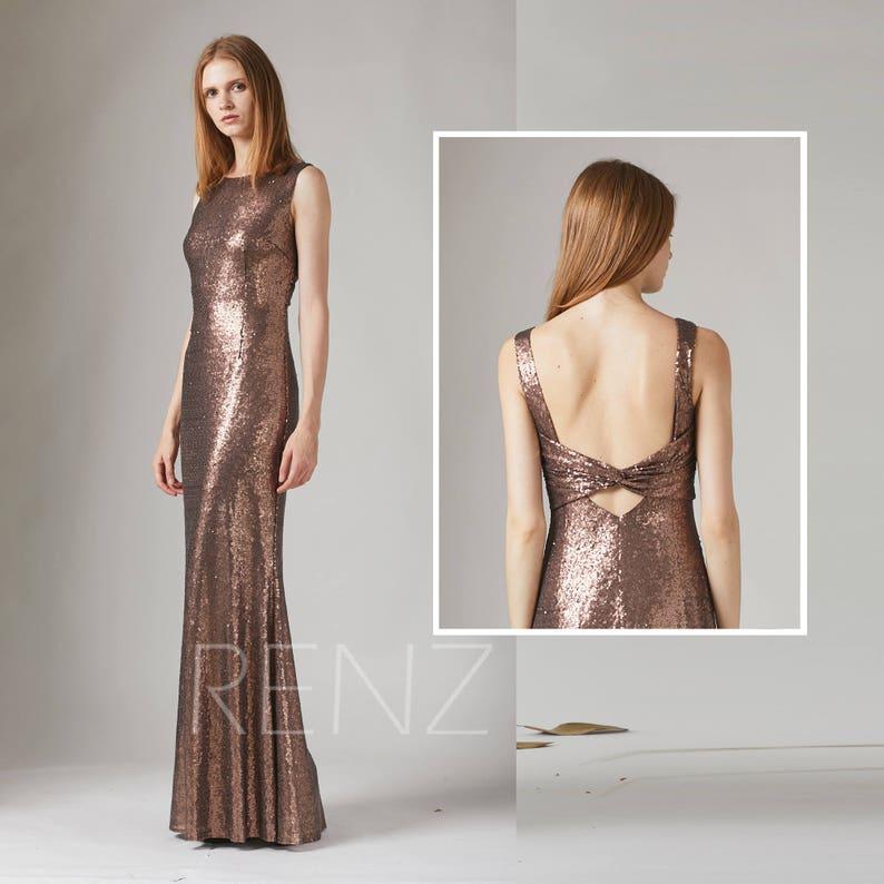 f8880484387 Party Dress Bronze Sequin Bridesmaid Dress Sleeveless Maxi